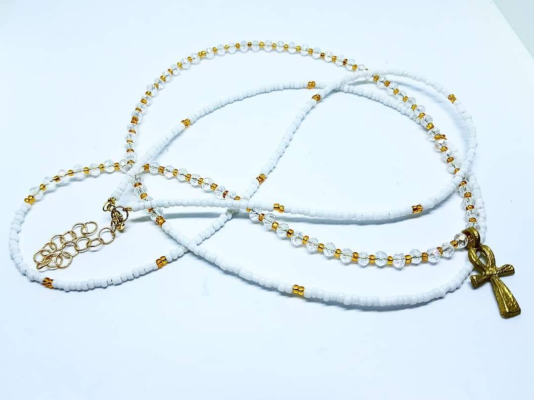 White Gold Necklace Beads