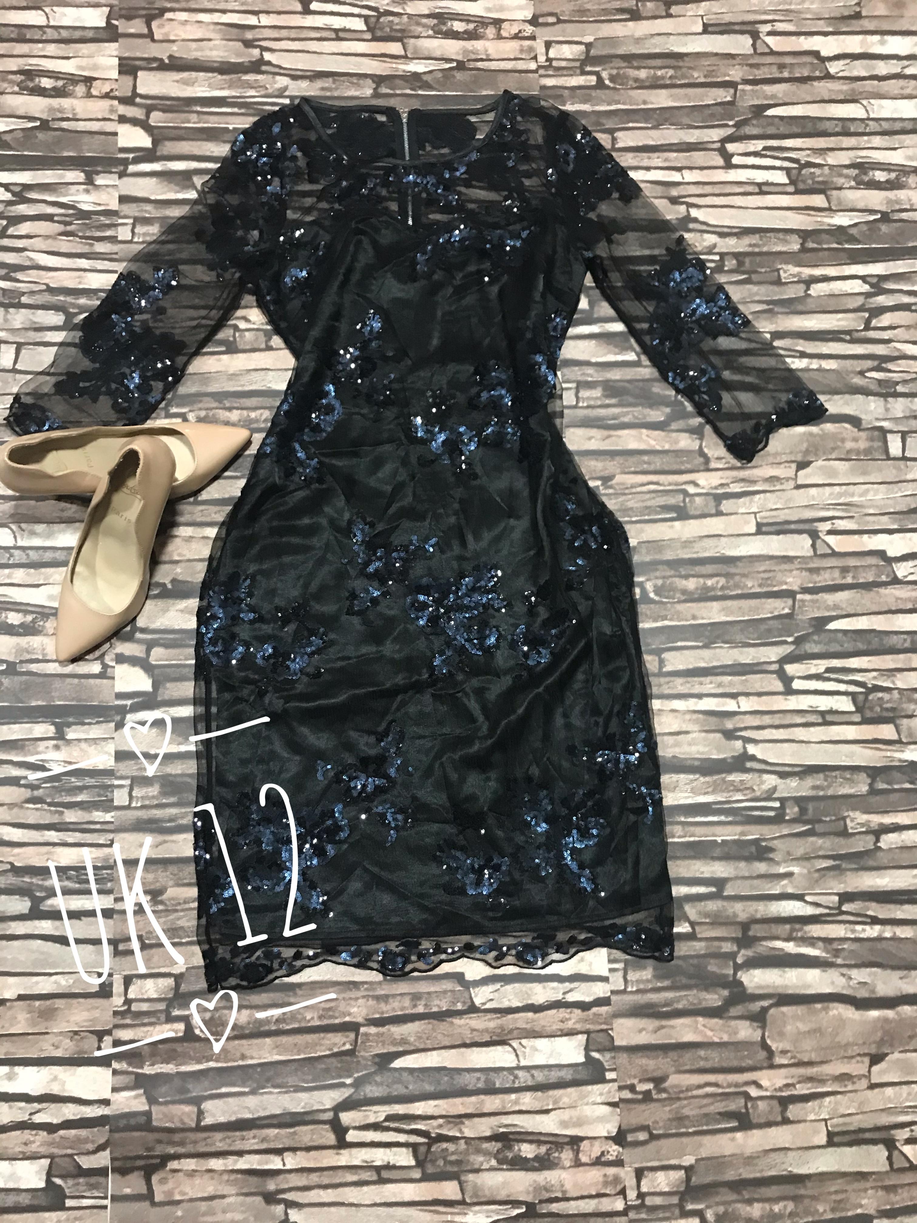 Black sequin lace sleeved shift dress